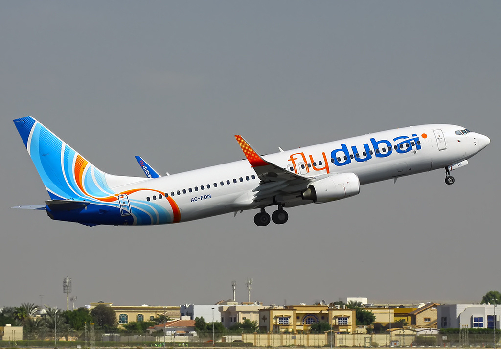 Flydubai Boeing 737-800 (A6-FDN) seen at Dubai International Airport. This aircraft crashed as Flydubai Flight 981 in Rostov-on-Don on 19 March 2016.