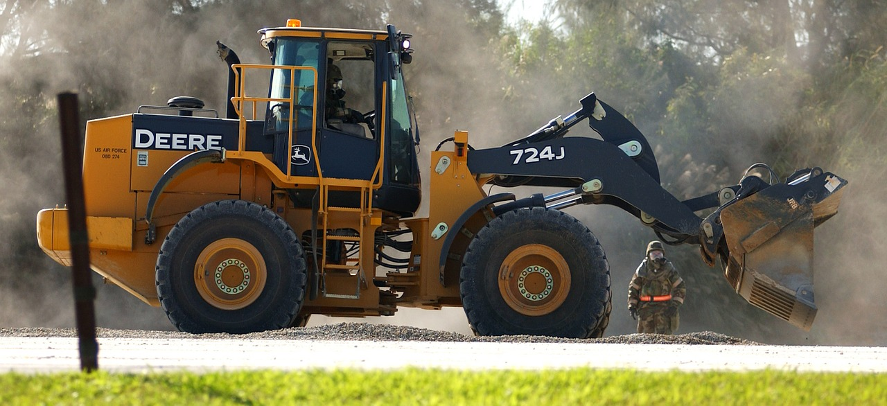 A wheel loader in operation