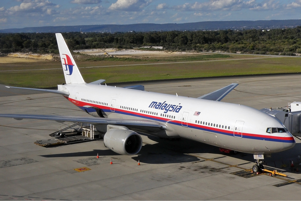 Malaysia Airlines Boeing 777-2H6-ER (9M-MRD) at the international terminal at Perth Airport. This aircraft crashed over Ukraine on 17 July 2014.